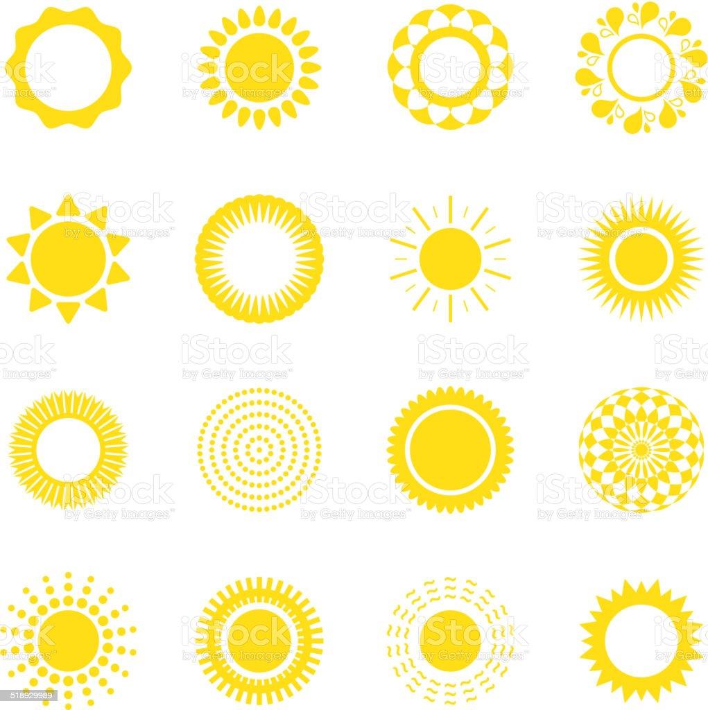 Set of suns vector art illustration