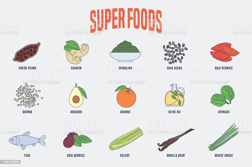 Set of superfoods products, berries, green in vector vector art illustration