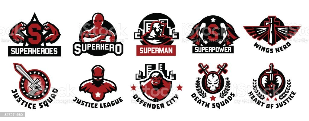 Set of superhero icons. A collection of images of superman. The suit, raincoat, silhouette, image, face, muscles, city, wings, sword, skull, monster, heart. Vector illustration. Flat style vector art illustration