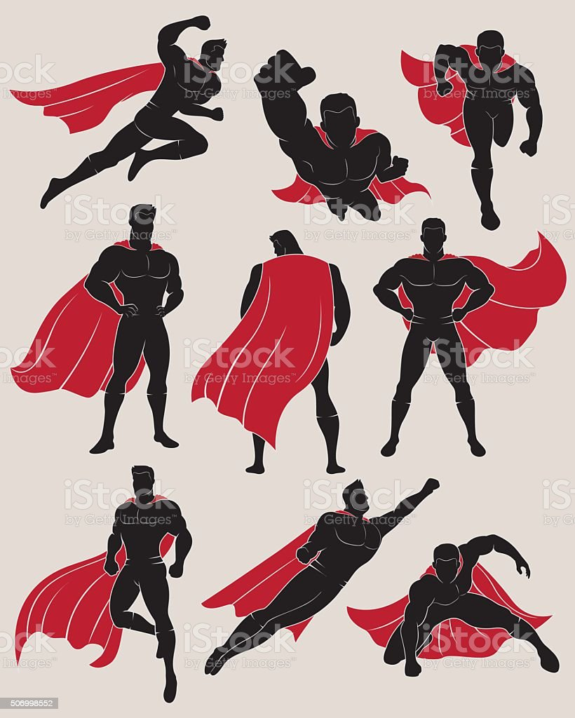 Set of Superhero in 9 Different Poses vector art illustration