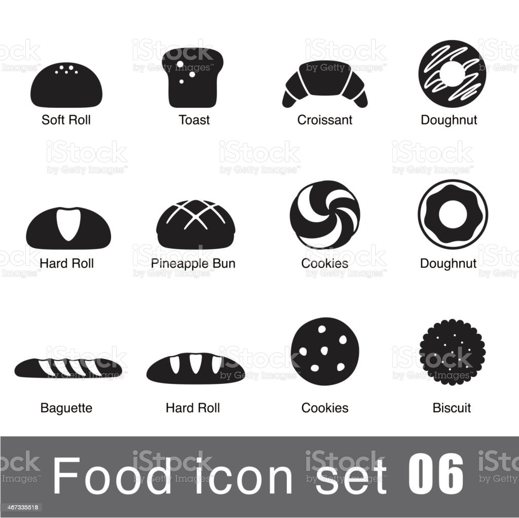 A set of supermarket icons depicting breaded goods vector art illustration