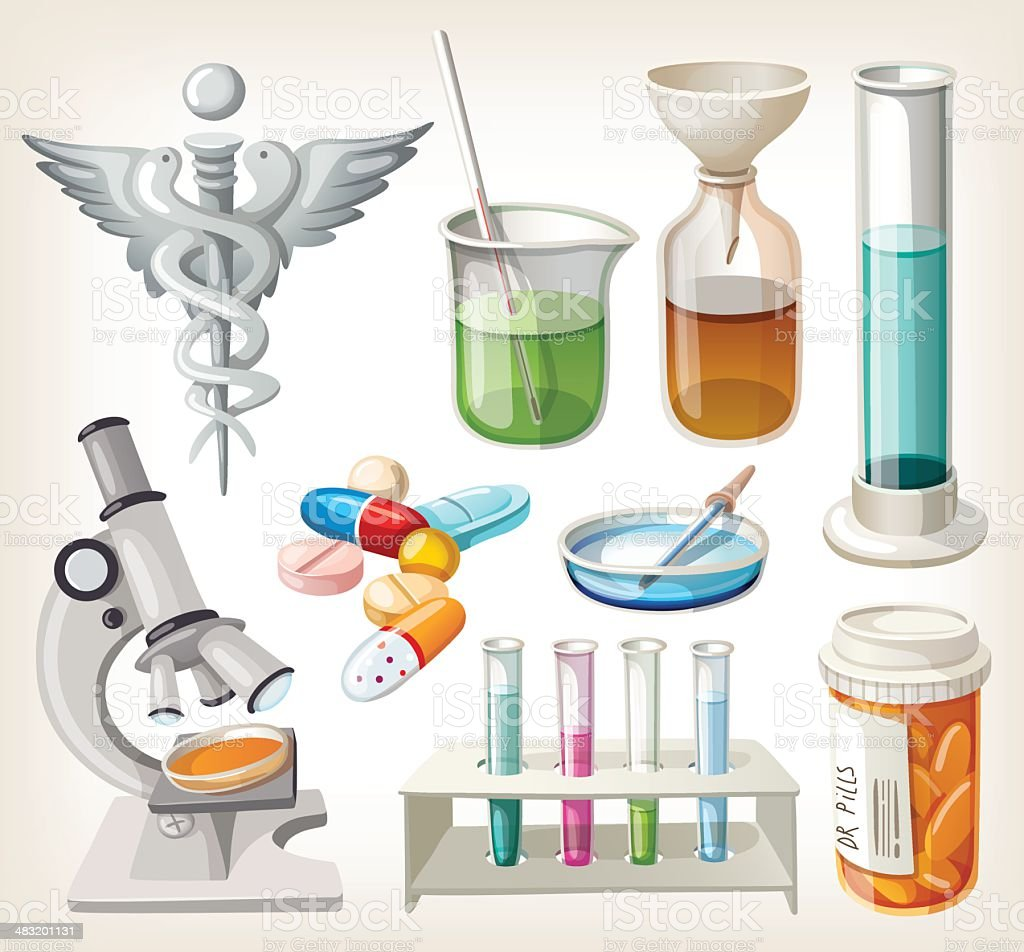 Set of supplies used in pharmacology for preparing medicine. royalty-free stock vector art