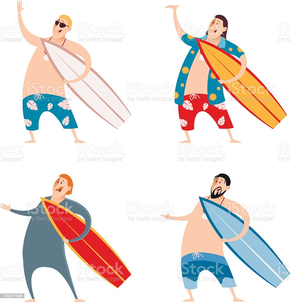 Set of surfers vector art illustration