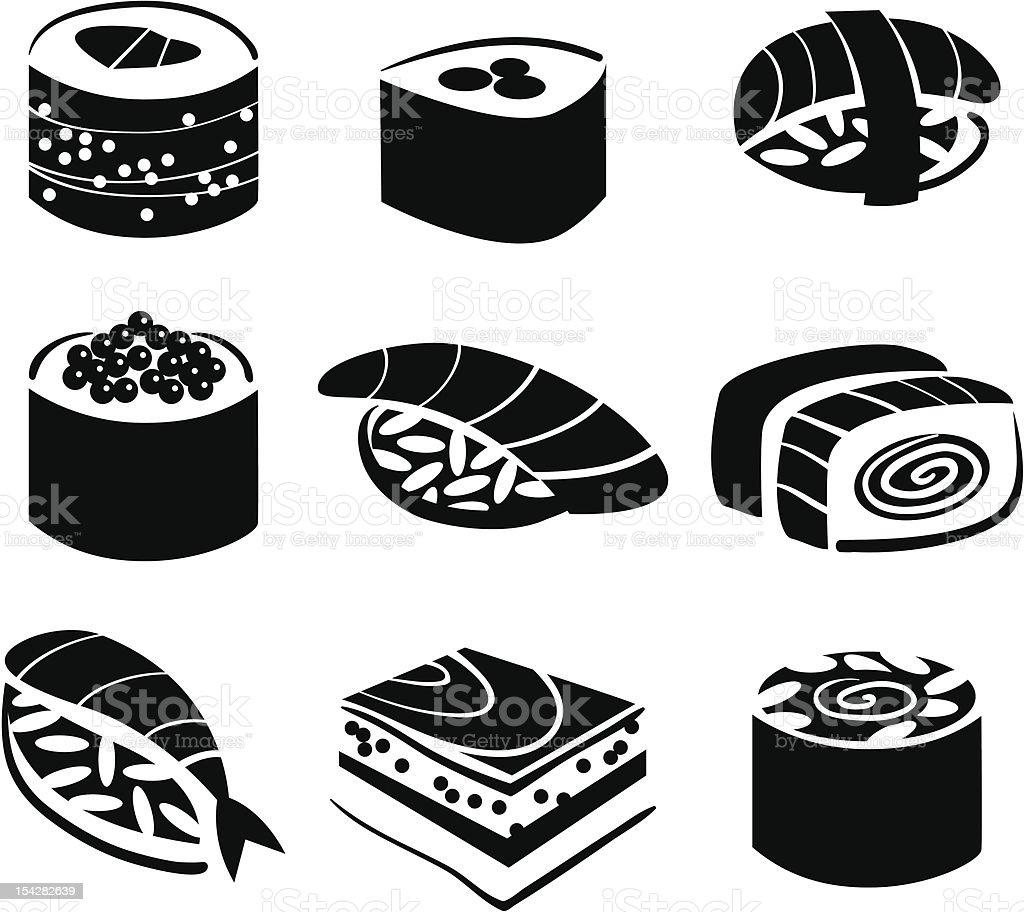 Set of sushi vector art illustration