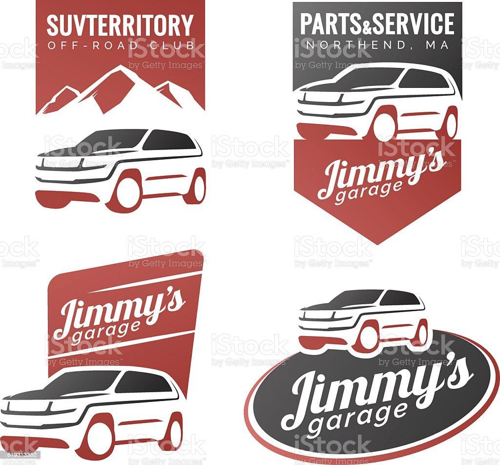 Set of suv car labels. vector art illustration