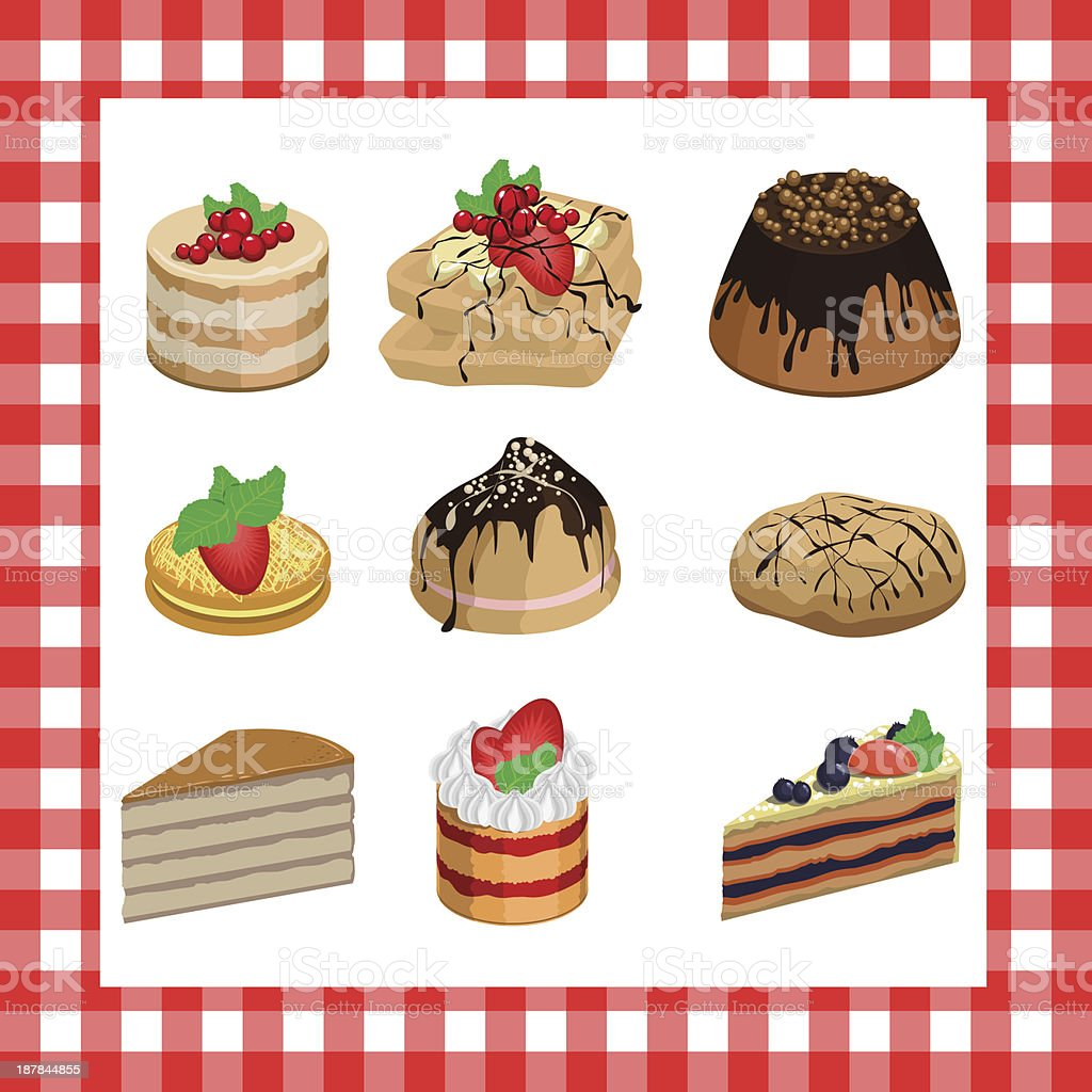 Set of sweet appetizing cakes on a red plaid background royalty-free stock vector art