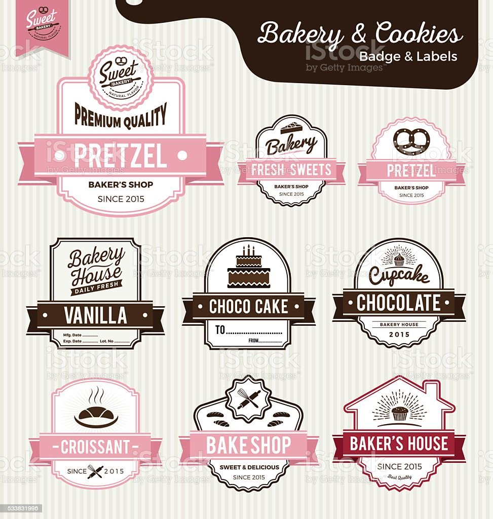 Set of sweet bakery and bread labels design vector art illustration