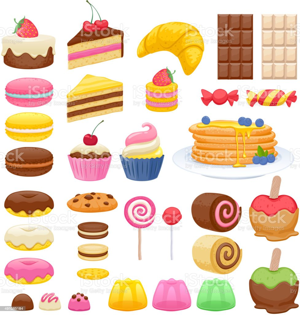 Set of sweet food icons vector art illustration