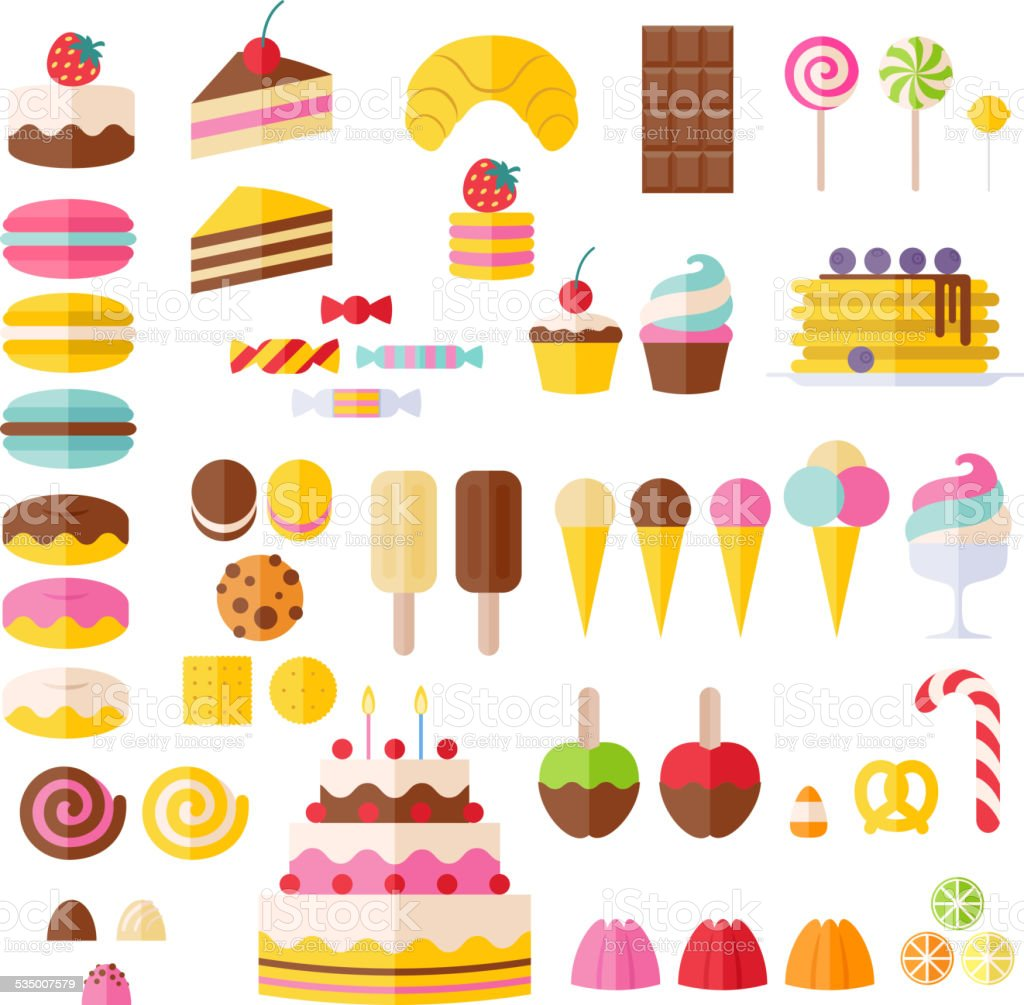 Set of sweet food icons. vector art illustration