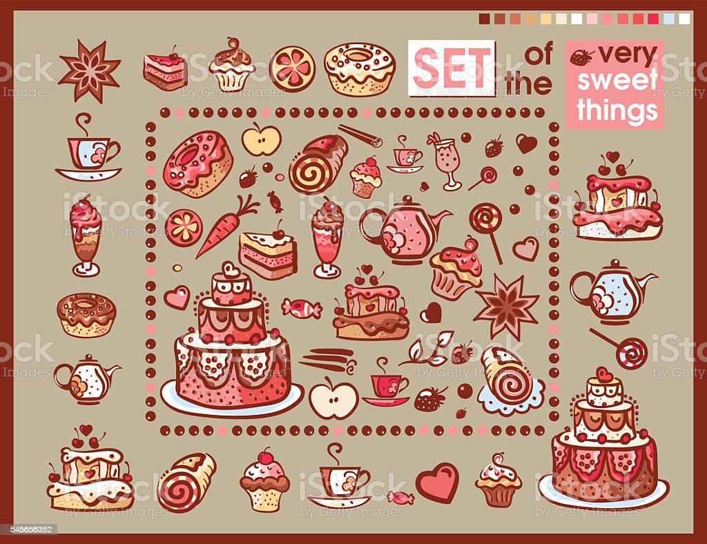 set of sweet food icons vector art illustration