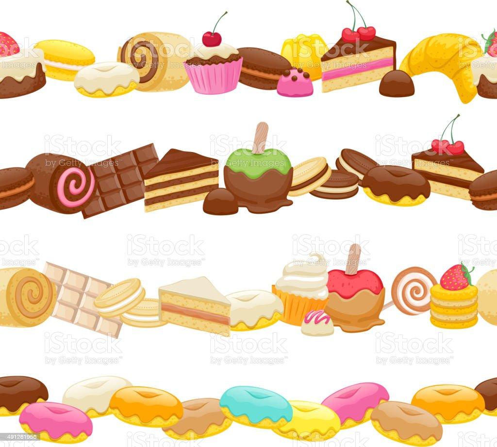 Set of sweet food seamless horizontal borders vector art illustration