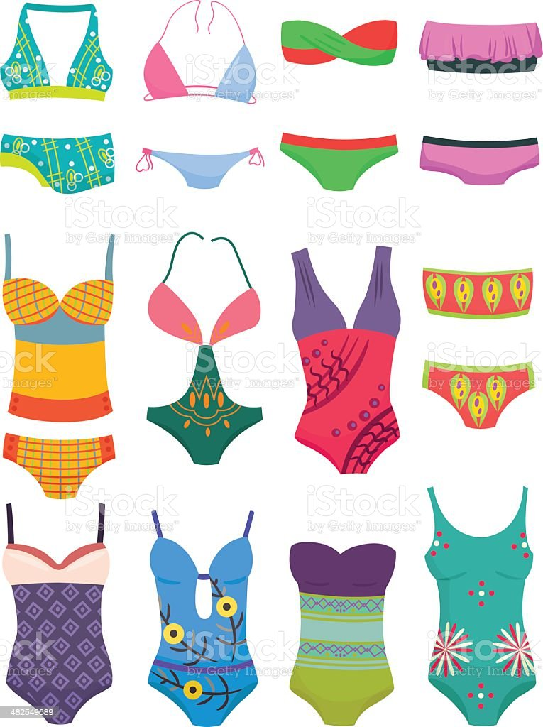 Set of swimwears vector art illustration