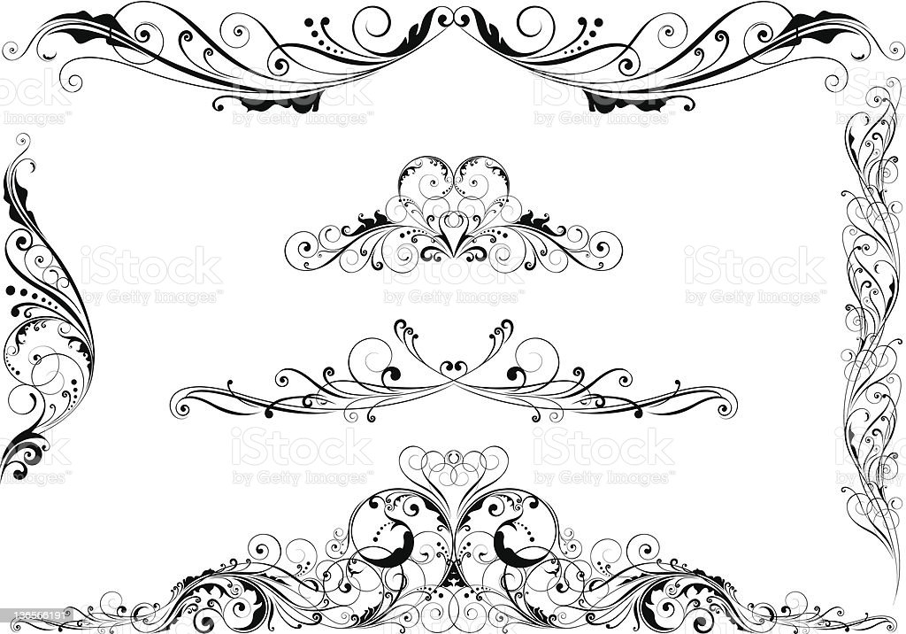 Set of swirl floral design elements royalty-free stock vector art