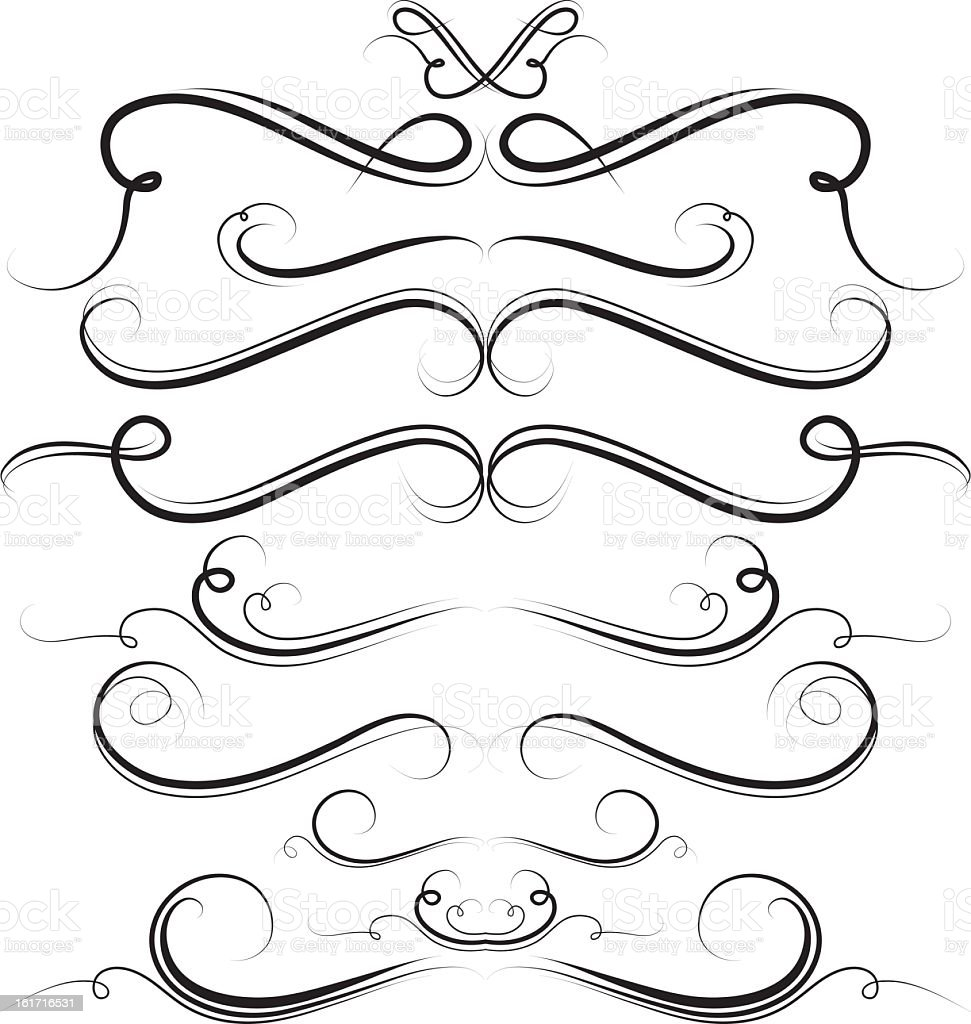 Set of swirls swirling through a white background royalty-free stock vector art