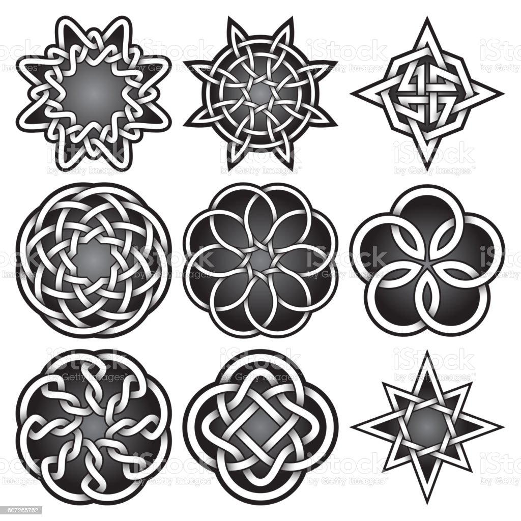 Set of symbols in Celtic knots style. vector art illustration