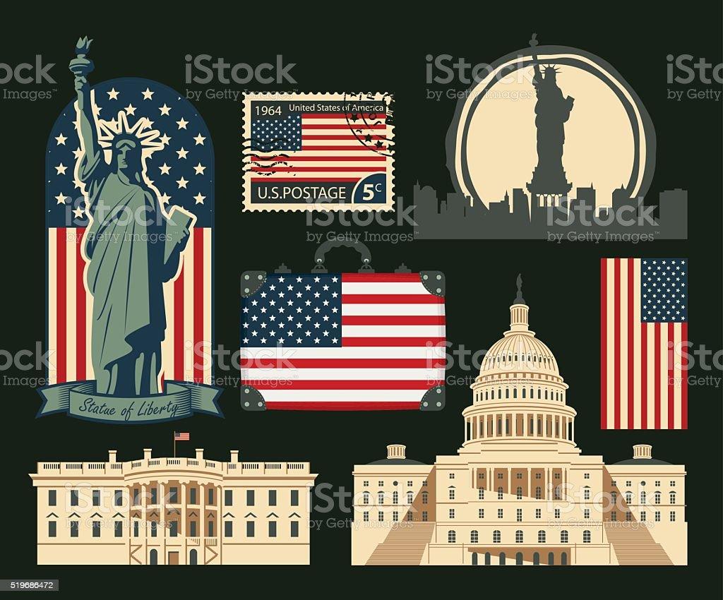 set of symbols of the United States of America vector art illustration