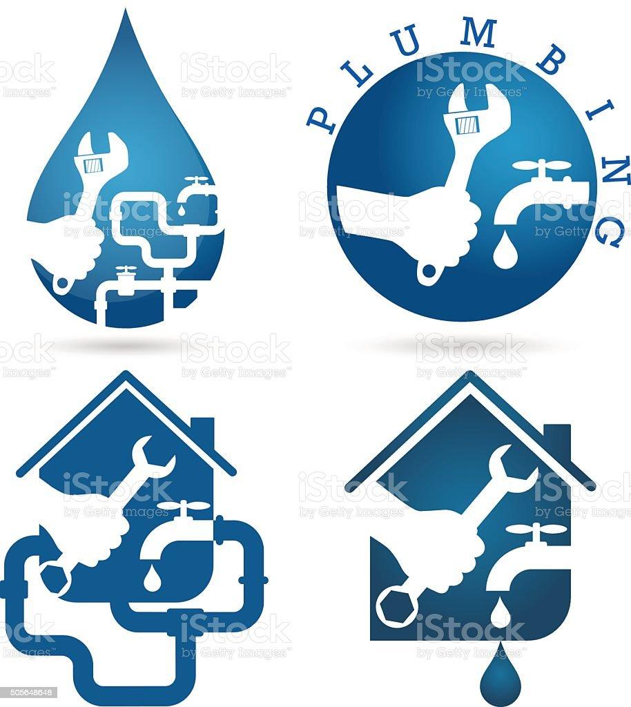 Set of symbols repair plumbing vector art illustration