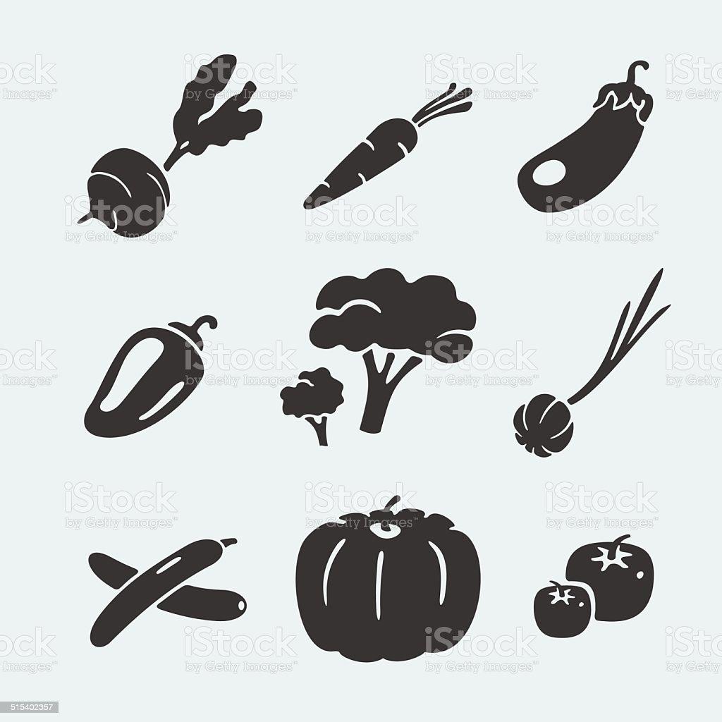 Set of symbols vegetables vector art illustration