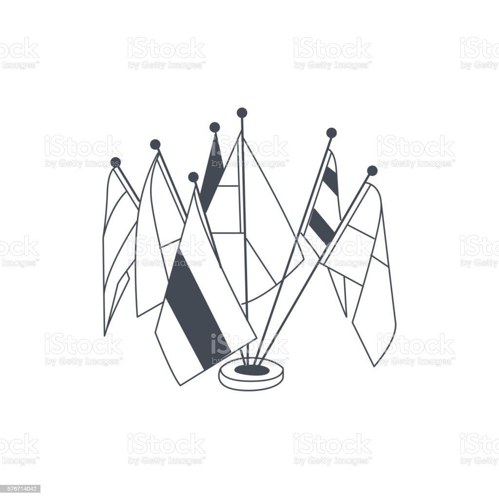 Set Of Table Flags For International Meeting vector art illustration