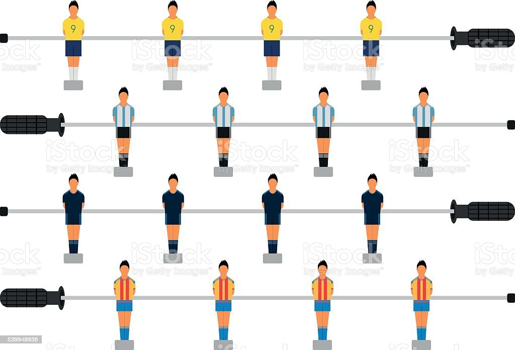 Set of table soccer players. vector art illustration