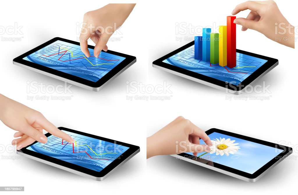 Set of tablet screen with graph royalty-free stock vector art