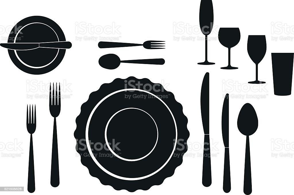 set of tableware on white background vector art illustration