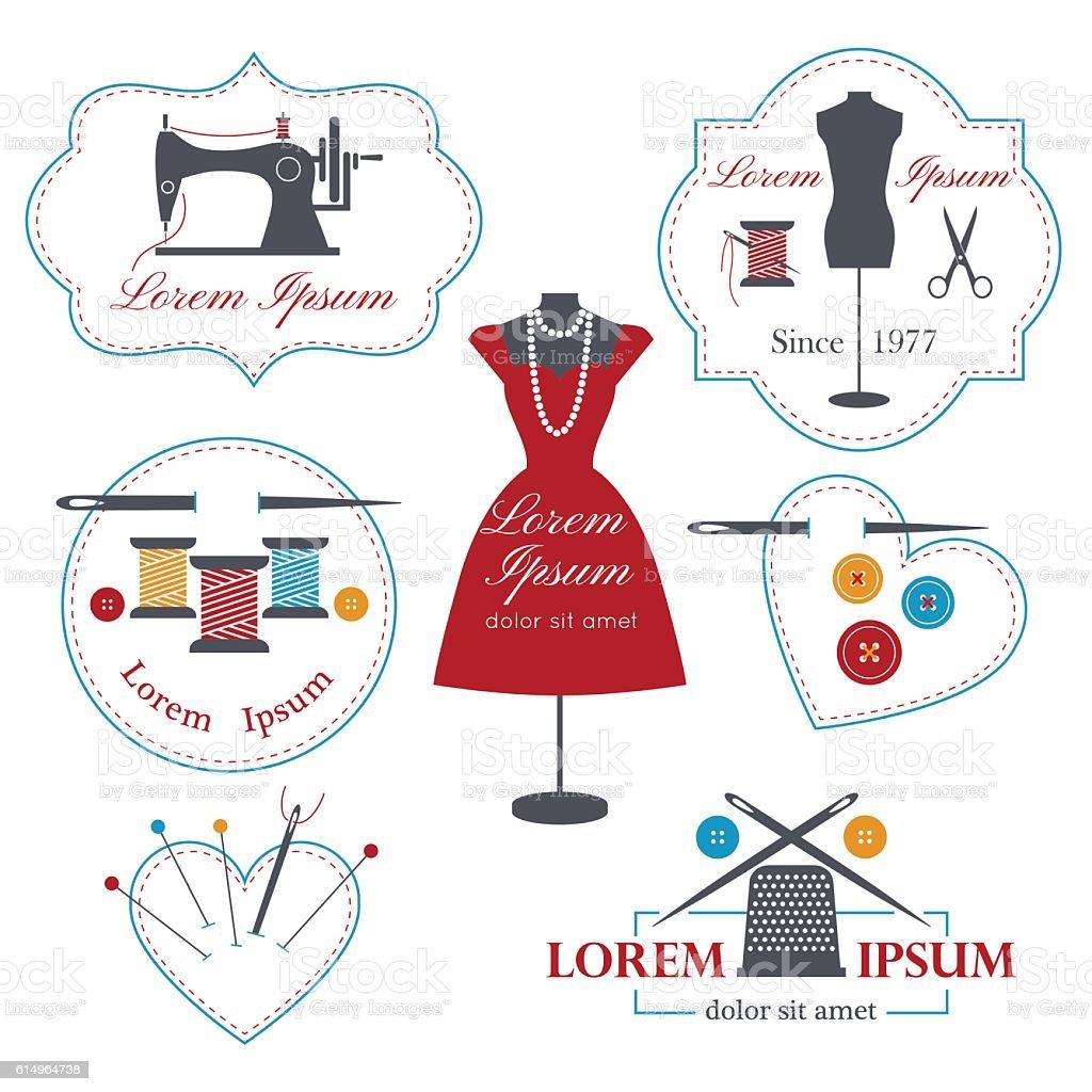 Set of tailor logos, labels, badges and emblems . vector art illustration