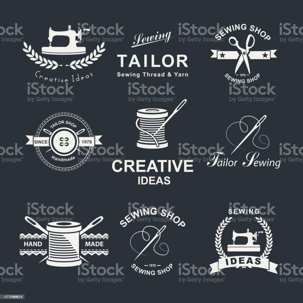 Set of Tailor shop element emblems vector art illustration