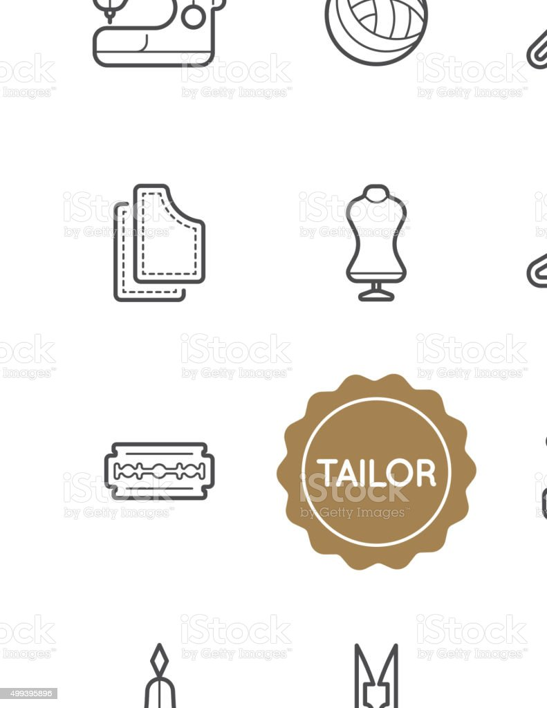 Set of Tailor Vector Illustration Elements vector art illustration