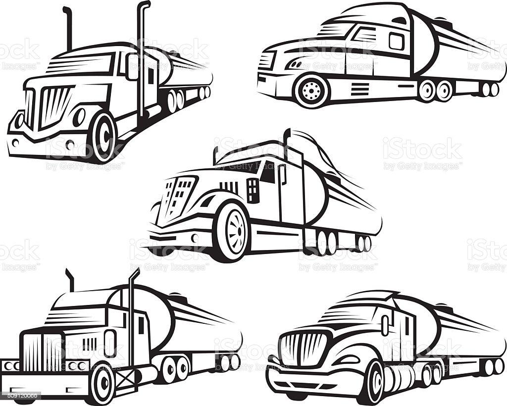 set of tank truck vector art illustration