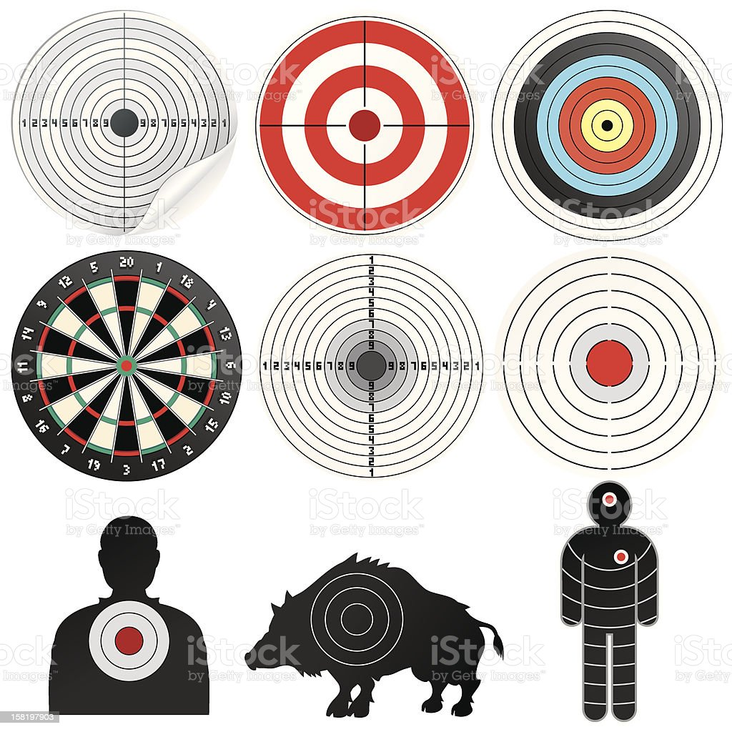 Set of Targets and Marks. Vector Clip Art royalty-free stock vector art