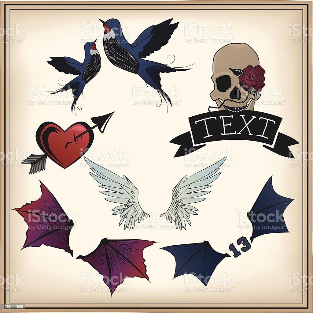 Set of tattoos vector art illustration