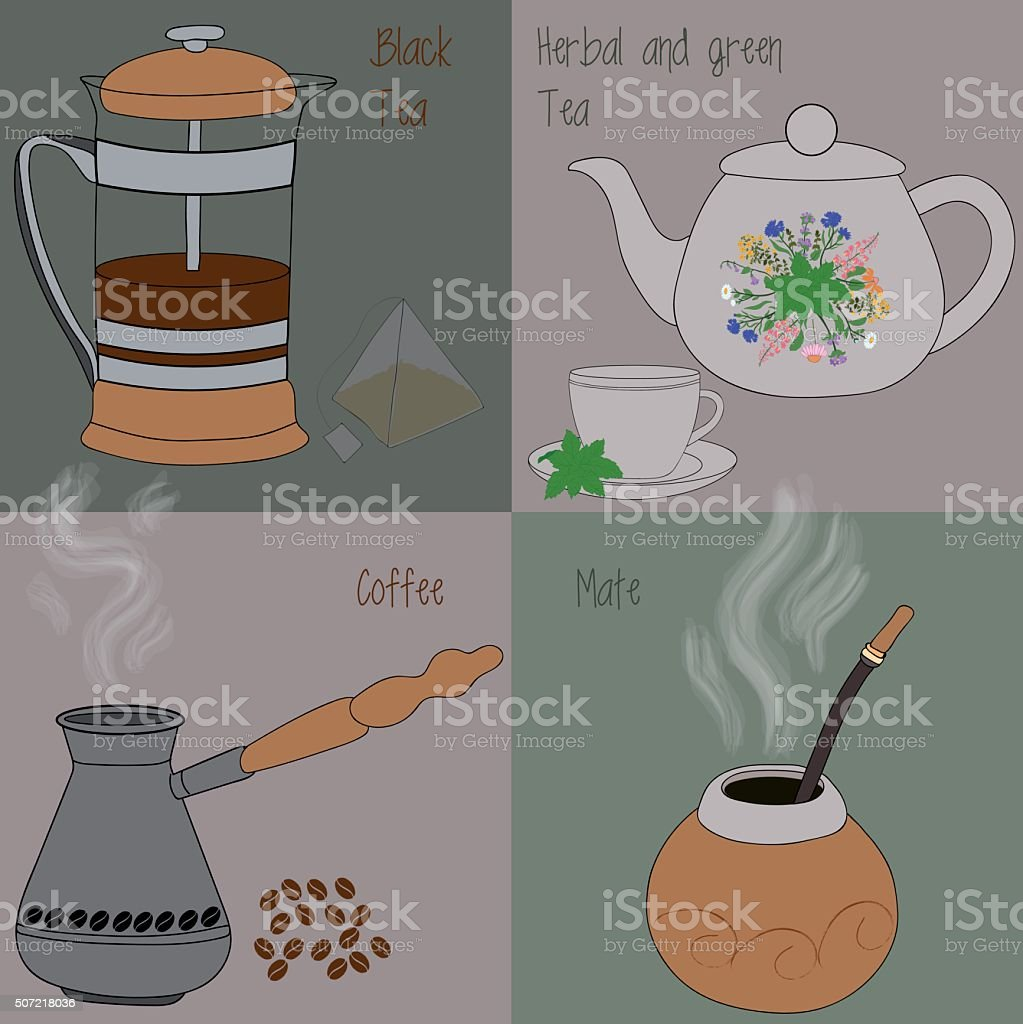 Set of tea and coffee, green and herbal tea, black tea, mate, coffee vector art illustration