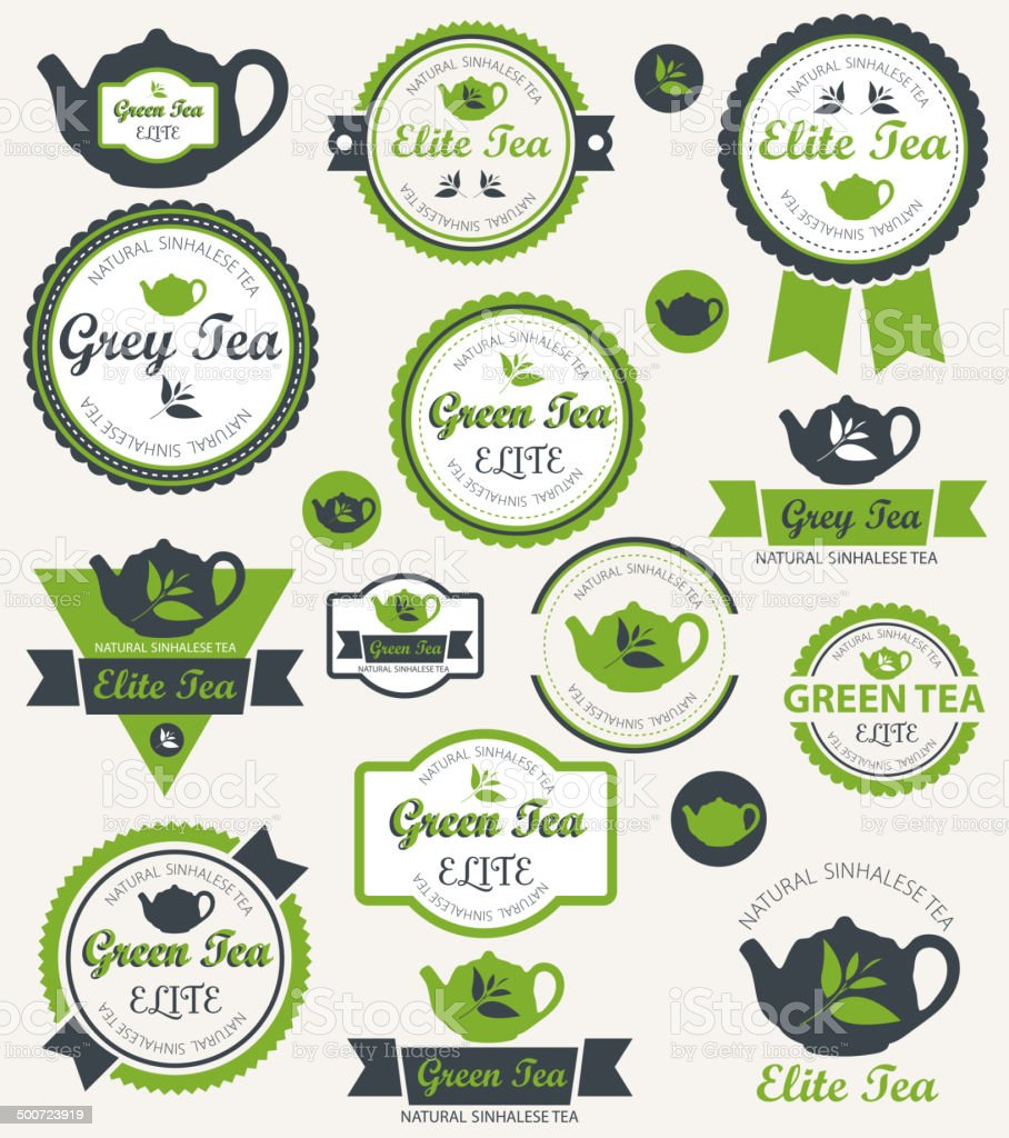Set of tea label. Vector vector art illustration