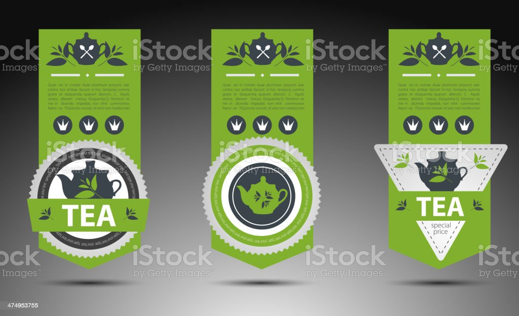Set of tea labels. Vector vector art illustration