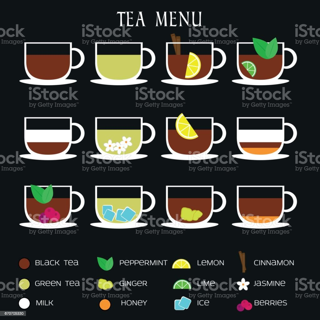 Set Of Tea Menu Icons Different Hot Drinks Recipes With