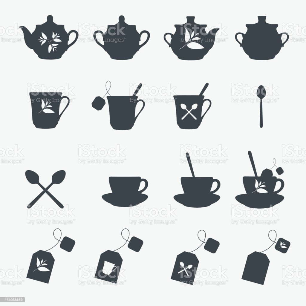 Set of tea objects. Vector royalty-free stock vector art