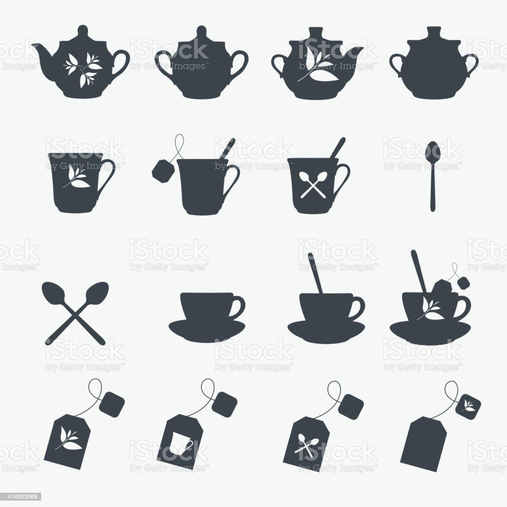 Set of tea objects. Vector vector art illustration