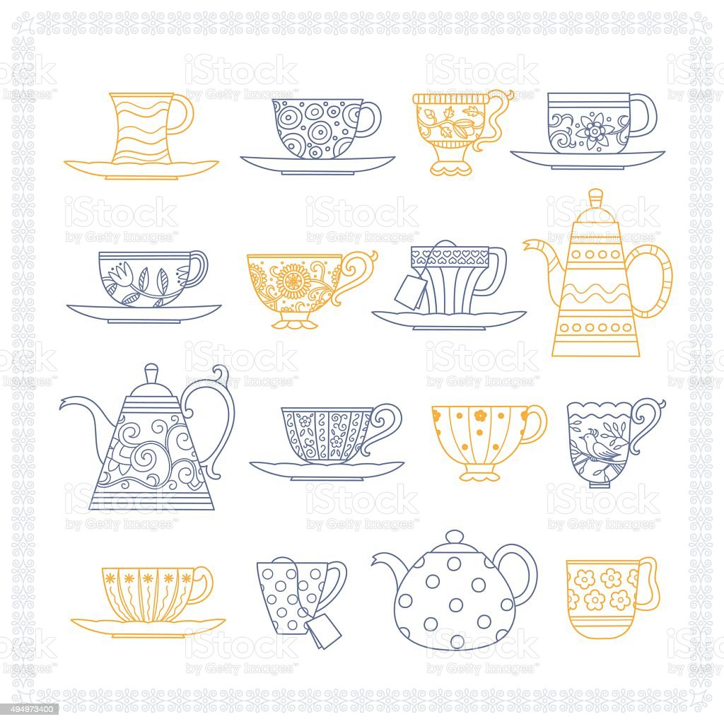 Set of teacups and teapots vector art illustration