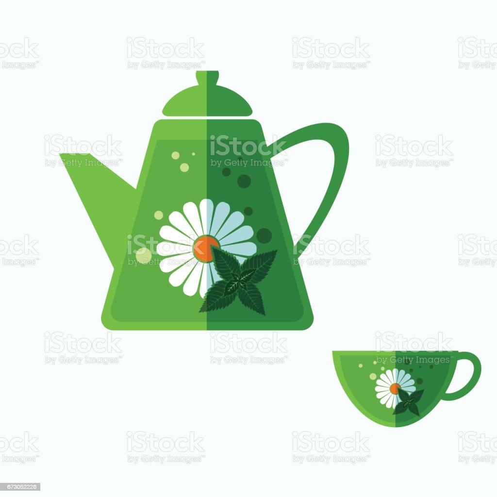 Set of teapot and tea cup. vector art illustration