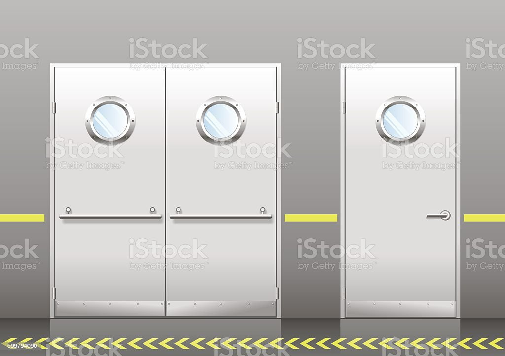 Set of technical doors with portholes vector art illustration
