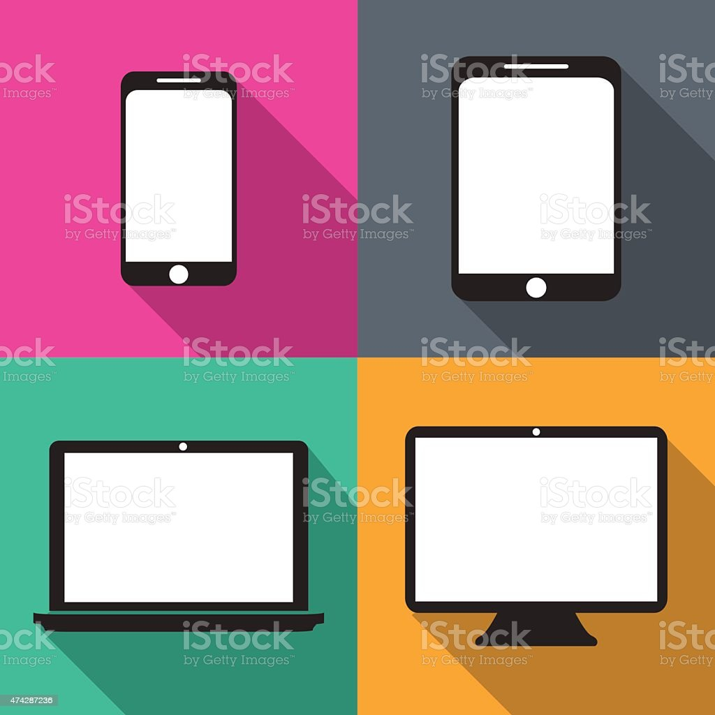 Set of techniques in flat, phones vector art illustration