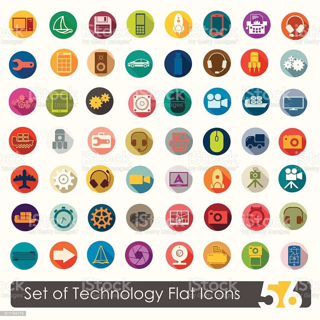 Set of technology flat icons vector art illustration
