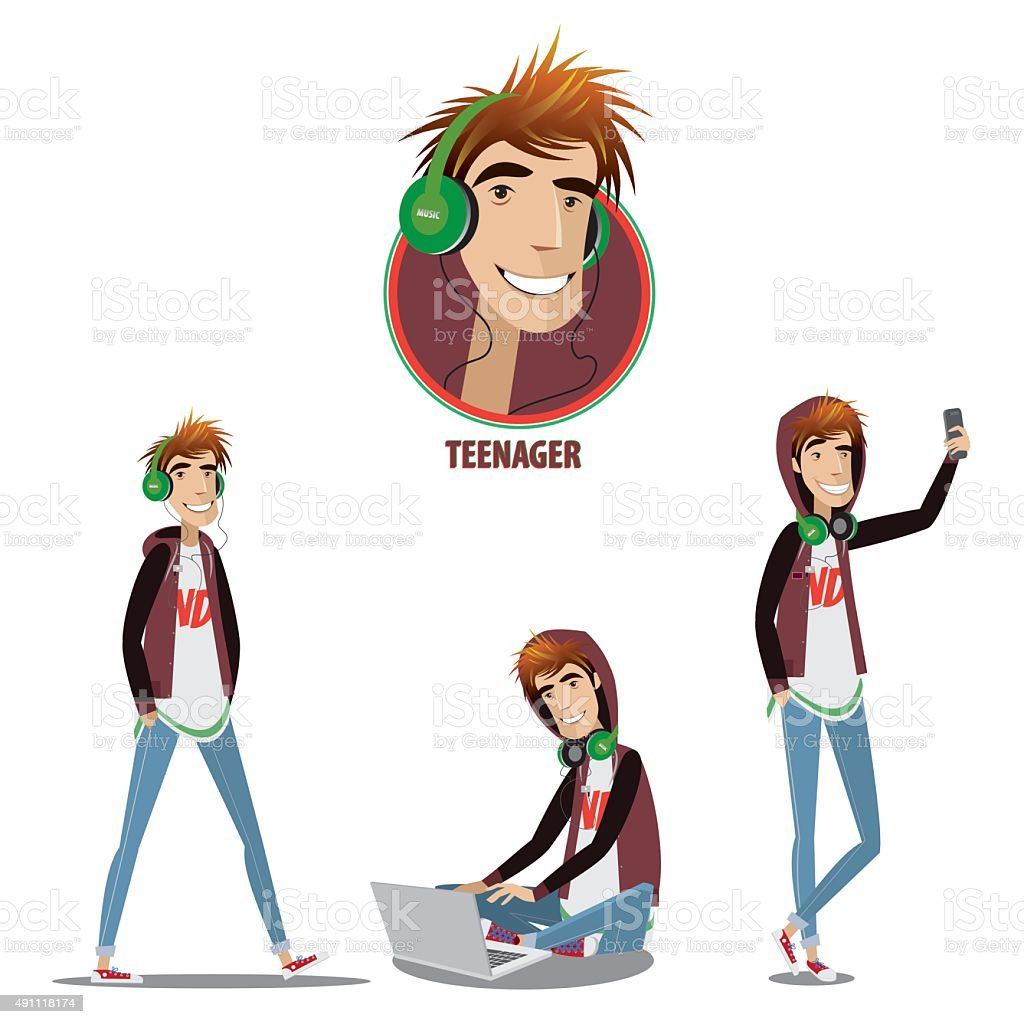 Set of teenager in three positions vector art illustration