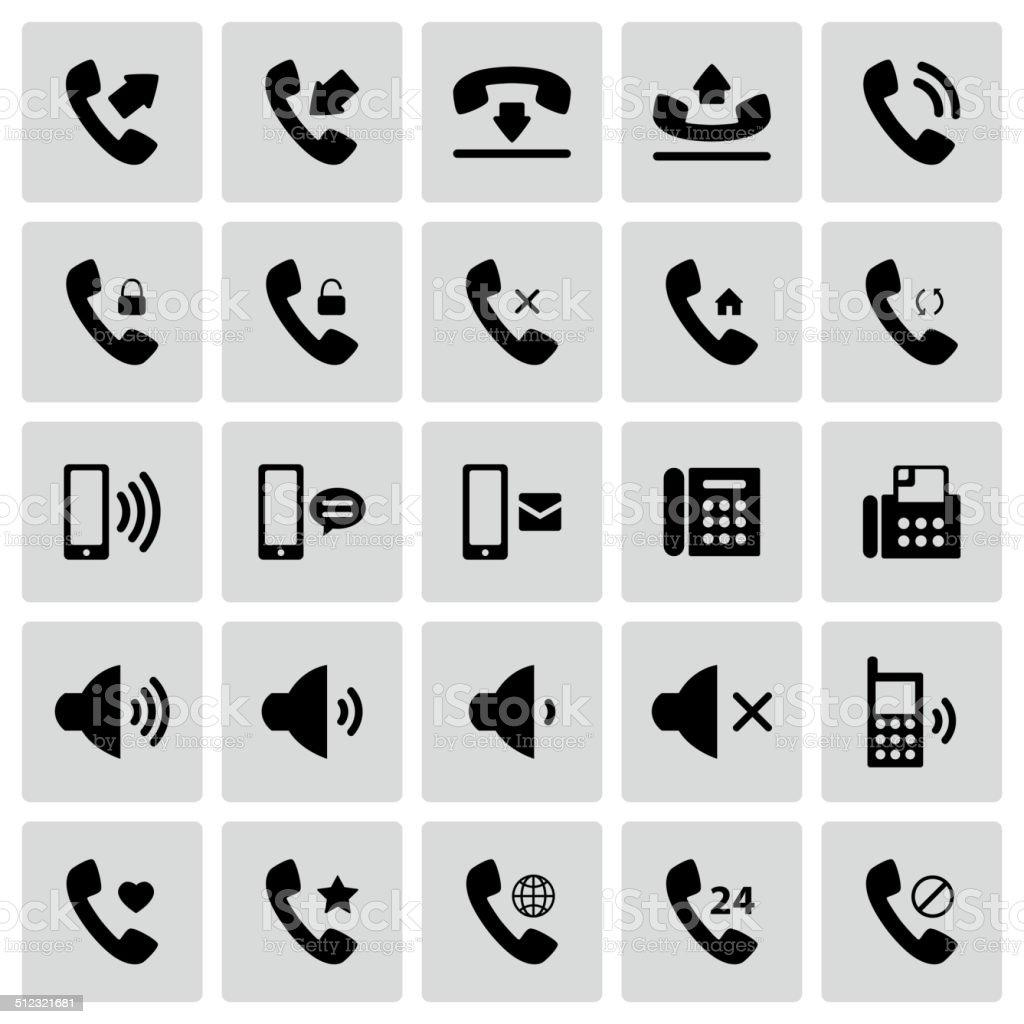 Set of telephone icons vector art illustration