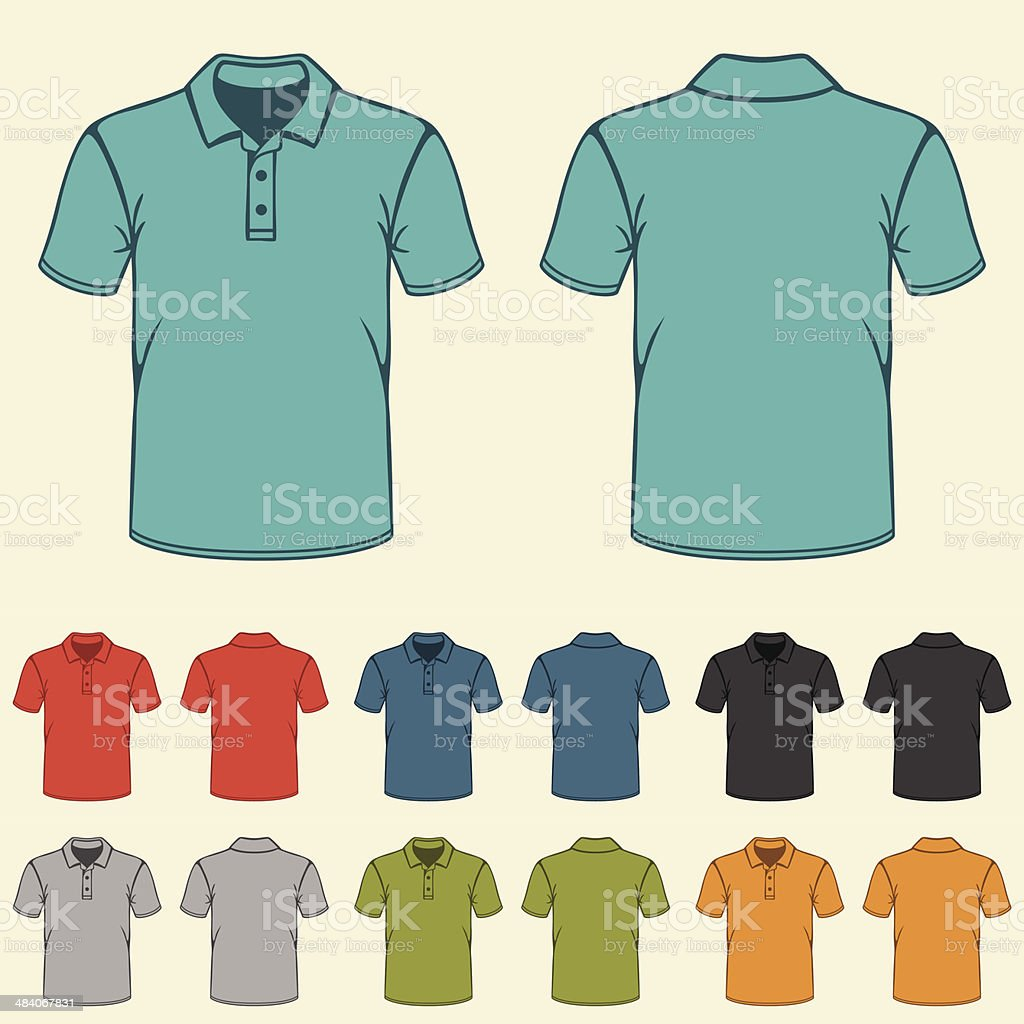 Set of templates colored polo shirts for men. vector art illustration