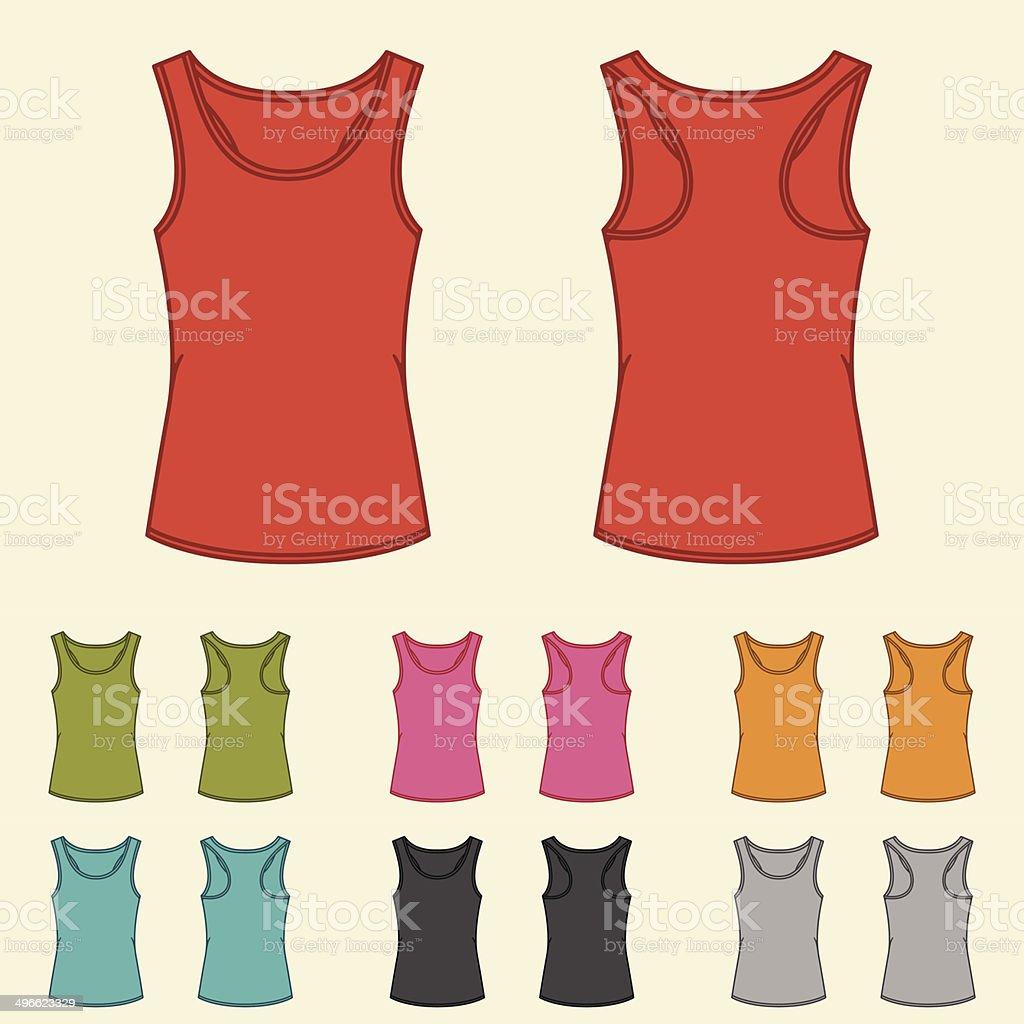 Set of templates colored singlets for women. vector art illustration
