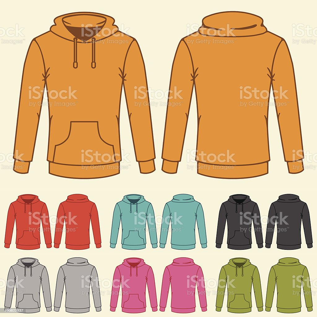Set of templates colored sweatshirts for women. vector art illustration