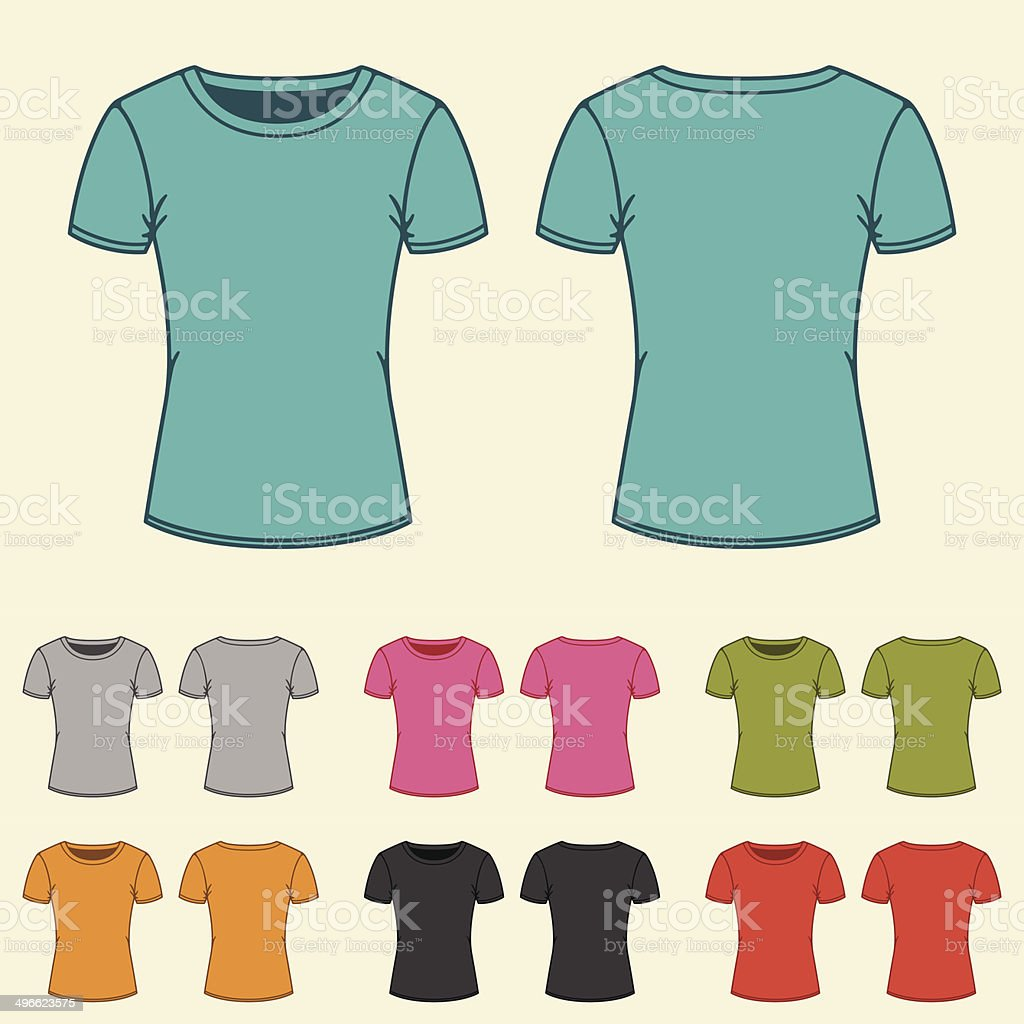 Set of templates colored t-shirts for women. vector art illustration