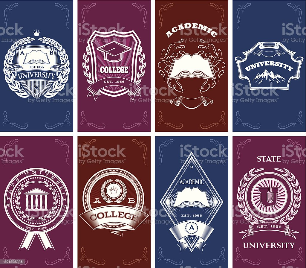 set of templates for business cards in education vector art illustration